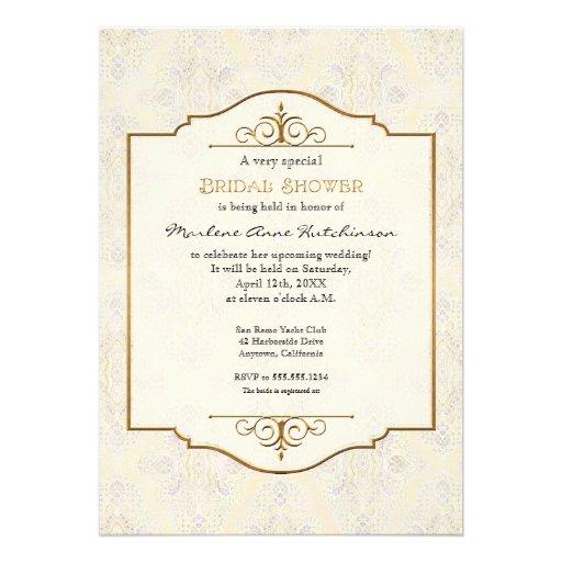 Gold lace classic formal elegant bridal shower 5x7 paper for Classic bridal shower invitations