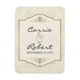 Gold & Lace Classic Formal Elegant Save the Date Rectangular Photo Magnet