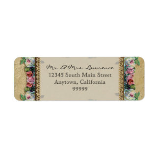 Gold & Lace Classic Formal Elegant Wedding Address Label
