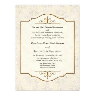 Gold & Lace Classic Formal Elegant Wedding Invite