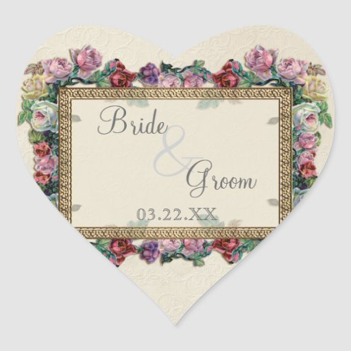 Gold & Lace Classic Formal Elegant Wedding Invite Heart Sticker