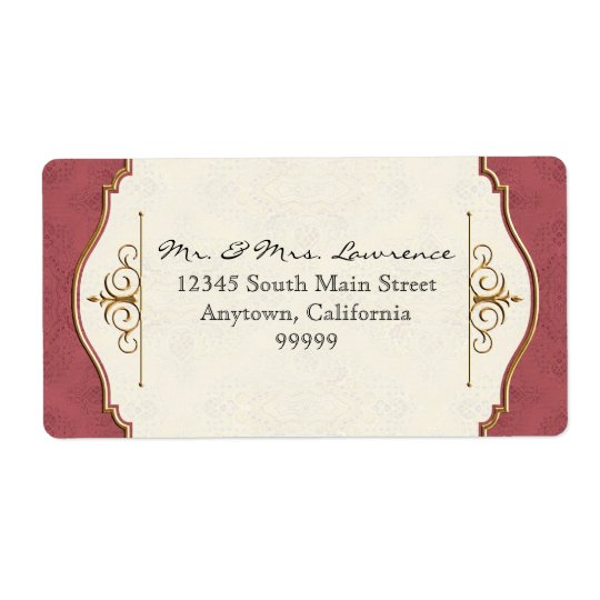 Gold & Lace Classic Formal Elegant Wedding Invite Label
