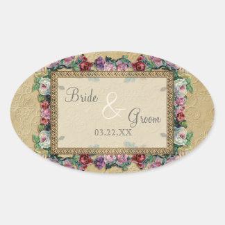 Gold & Lace Classic Formal Elegant Wedding Invite Oval Sticker
