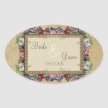 Gold & Lace Classic Formal Elegant Wedding Invite Oval Stickers