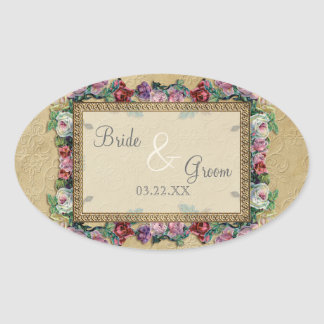 Gold Lace Classic Formal Elegant Wedding Invite Oval Stickers