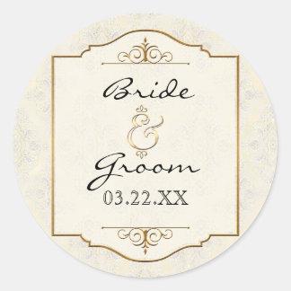 Gold & Lace Classic Formal Elegant Wedding Invite Round Stickers