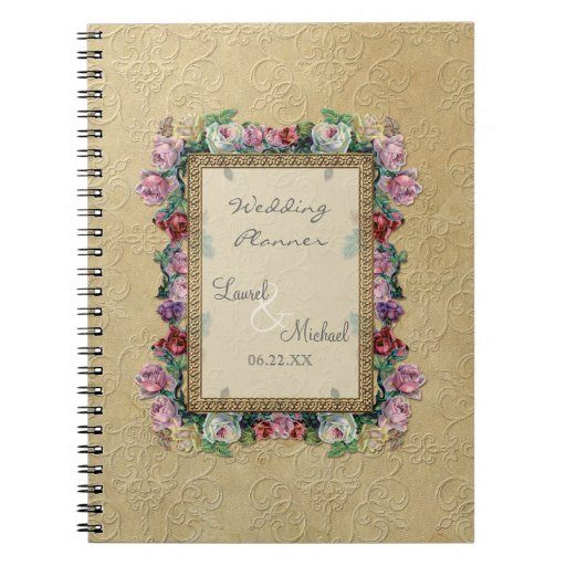 Gold & Lace Classic Formal Elegant Wedding Planner Spiral Note Book