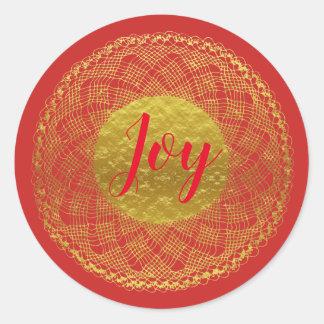 Gold Lace Crochet Doily Red Joy Sticker