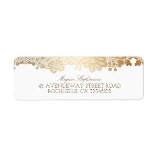 Gold Lace Elegant Vintage Wedding Label