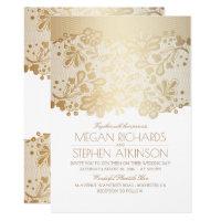 Gold Lace Elegant Vintage White Wedding Invitation