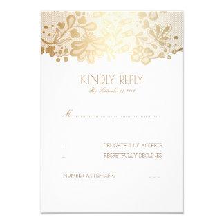 Gold Lace Elegant Wedding RSVP Cards