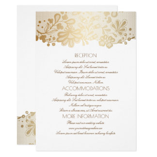 Gold Lace Elegant White Wedding Information Card