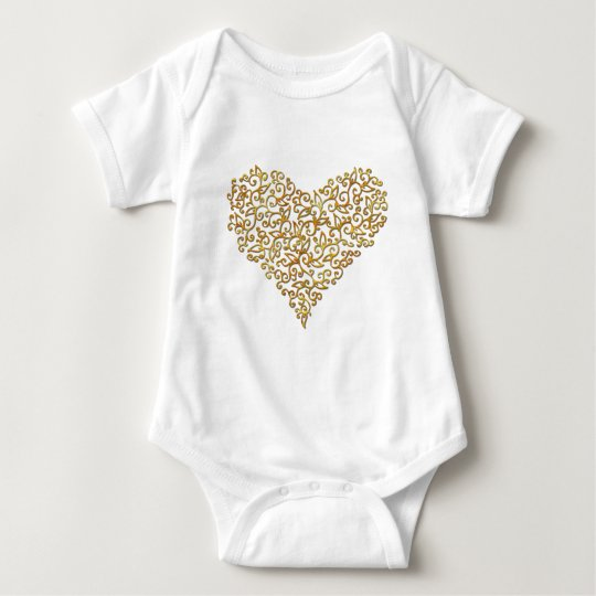 Gold Lace Heart Baby Bodysuit