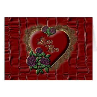 Gold Lace Heart Greeting Card
