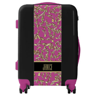 Gold Lace Music Notes On Maroon or Custom Color Luggage