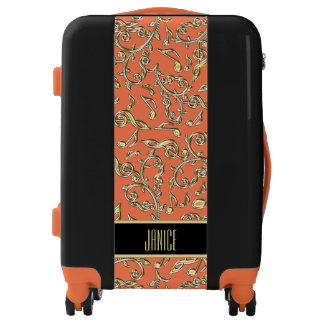 Gold Lace Music Notes On Orange or Custom Color Luggage