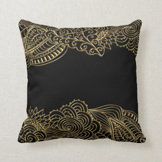 Gold Lace On Black Or Any Color Throw Pillow