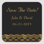 Gold lace on Black Wedding Save The Date Square Sticker