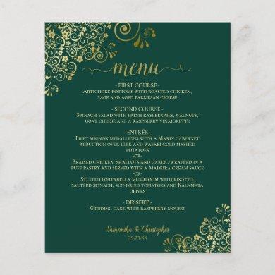 Gold Lace on Emerald Green Budget Wedding Menu