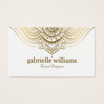 Gold Lace Paisley Mandala Business Card