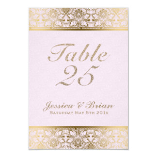 Gold Lace & Pink Wedding Table Number Card