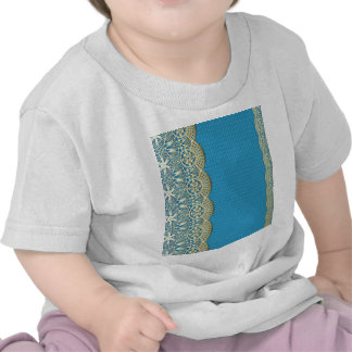 Gold lace,turqouise floral,pattern,vintage,elegant t-shirts