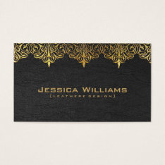 Gold Lace Vintage Black Leather Business Card at Zazzle