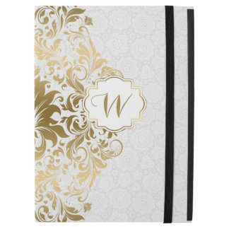 "Gold Lace White Circles Background iPad Pro 12.9"" Case"