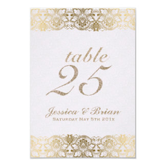 Gold Lace & White Wedding Table Number Card