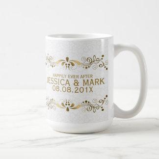 Gold Lace With White Damasks Coffee Mug