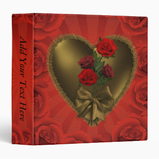 Gold Laced Heart and Roses Binders