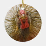 Gold-Laced Wyandotte Chicken Double-Sided Ceramic Round Christmas Ornament