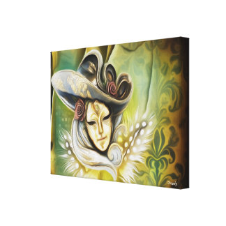 Gold Lady in Mask and Hat - Venetian Mask Print