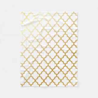 Gold Lattice Moroccan Pattern Fleece Blanket