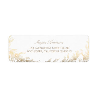 Gold Laurel Branches Wedding Label