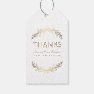 Gold Laurel Leaves Wreath Wedding Gift Tags