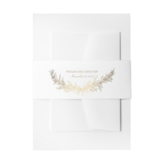 Gold Laurel Olive Leaves Wreath Elegant Wedding Invitation Belly Band