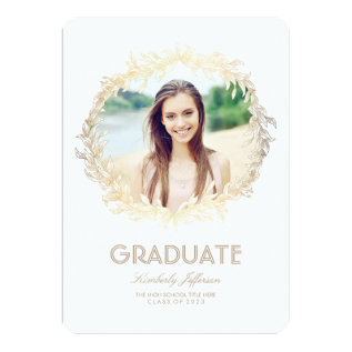 Gold Laurel Photo Graduation Party Card at Zazzle