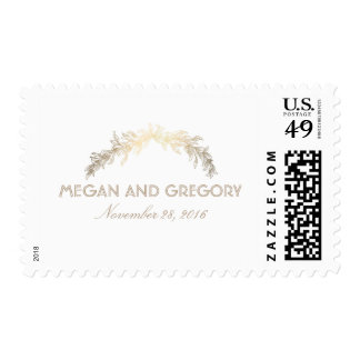 Gold Laurel Vintage Wedding Postage