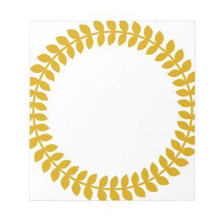 Gold Laurel Wreath Icon Circle Notepad