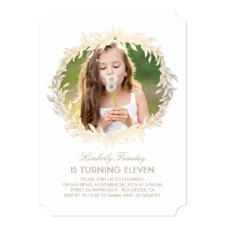 Gold Laurel Wreath White Elegant Photo Birthday Card