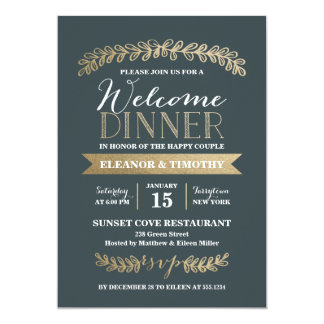 Gold Laurels Slate Wedding Welcome Dinner Party Card