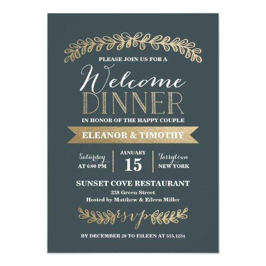 Wedding Welcome Dinner Invitation Wording: Gold Laurels Slate Wedding Welcome Dinner Party Invitation