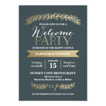Gold Laurels Slate Wedding Welcome Party Invite