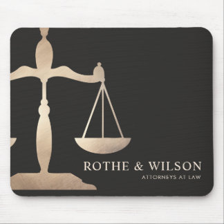 Gold Lawyer Scales of Justice Dark Brown Mouse Pad
