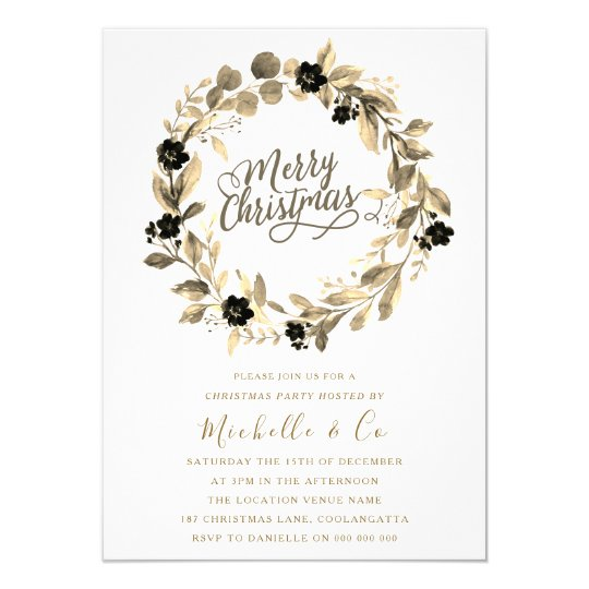 Gold Lead Wreath Office Family Christmas Party Invitation