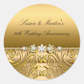 Gold Leaf 50th Wedding Anniversary Sticker