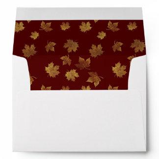 Gold Leaf and Burgundy Autumn Envelope