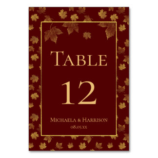 Gold Leaf and Burgundy Fall Wedding Party Table Number