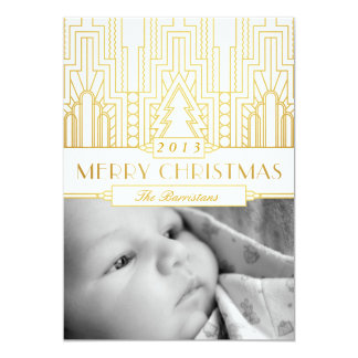 Gold Leaf Art Deco Merry Christmas Photo Card